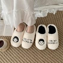 【預購】韓風手繪秋冬保暖毛毛居家室內拖鞋~2色(兒童尺寸+成人35~43號)