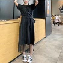 【預購】森女系.拼接網紗洋裝~2色