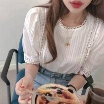 【預購】精緻小女人.蕾絲縷空短袖襯衫上衣