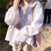 【預購】無害女孩感.春秋款燈籠袖娃娃衫上衣~2色