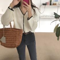 【預購】精緻女子.撞色V領針織上衣外套~3色