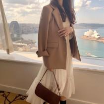【預購】溫柔風穿搭.卡其色西裝外套 + 米色長洋裝套裝(兩件需分開購買)