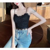 【預購】夏天必備!可單穿可內搭的睫毛蕾絲細肩帶背心~2色