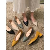 【預購】百搭好穿的尖頭粗跟工作小皮鞋~8款(34~40號)