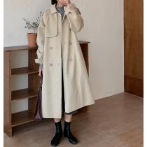 【預購】歐膩的衣櫃.法式氣質款綁帶毛呢大衣~2色