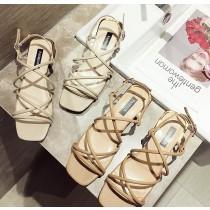 【預購】波西米亞風交叉細帶低跟羅馬鞋~2色