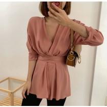 【預購】法式小眾設計感V領綁帶長版上衣~2色