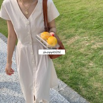 【預購】韓國訂單.簡約設計款後背縷空長洋裝