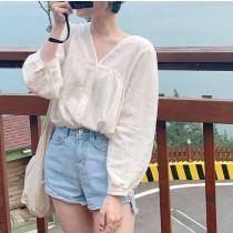 【預購】法式溫柔風.立體織紋V領襯衫上衣