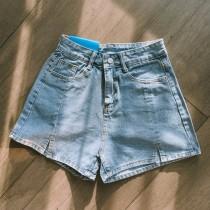 【預購】小心機設計!褲腳開衩 顯腿長小A字牛仔短褲~3色(S~XL)