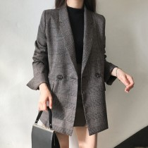 【預購】質感韓風.春秋款 格紋西裝外套~2色