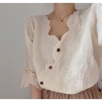 【預購】質感刺繡棉布 雲朵襯衫上衣~2色