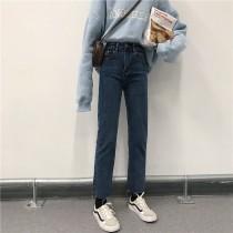 【預購】牛仔褲大賞.復古深藍色撕邊設計款彈力牛仔褲