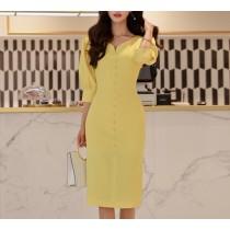 【預購】韓風女神.黃色系V領收腰小洋裝小禮服