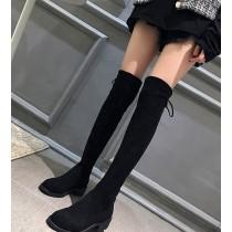 【預購】秋冬必備款!彈力絨面膝上靴(兩種跟高)