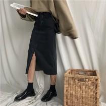 【預購】春秋款顯瘦開衩牛仔半身裙