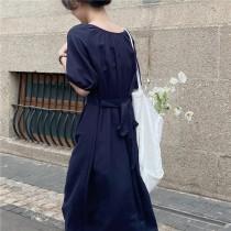 【預購】東大門款.微復古收腰 大圓領棉麻洋裝~2色