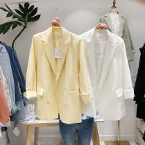 【預購】東大門款.法式高級色系西裝外套~2色