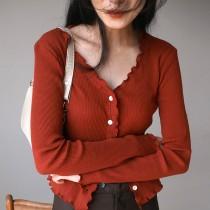 【預購】氣質小女人.復古顯白的木耳邊紅色針織上衣外套
