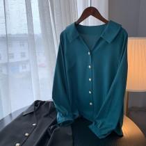 【預購】質感設計款光澤緞面襯衫~2色