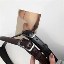 【預購】百搭款啞光金屬方扣皮帶~2色