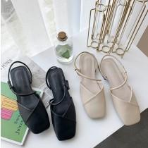 【預購】韓款一字帶方頭低跟涼鞋~2色