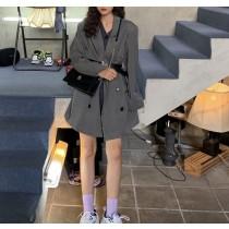 【預購】帥女孩.深灰色西裝領風衣外套(可加購皮帶)