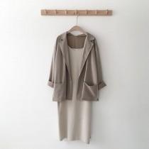【現貨】文藝女子的微正式套裝.西裝外套+吊帶洋裝~4款(兩件需分開購買)