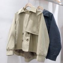 【預購】韓國訂單.給小隻女子的好版型短版風衣外套~2色
