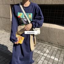 【預購】歐膩日常.手繪人像衛衣長洋裝~2色