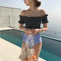 【預購】直男也會愛的小清新風條紋泳衣~2色