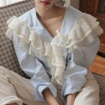 【預購】韓IG 復古V領拼接蕾絲襯衫上衣~2色