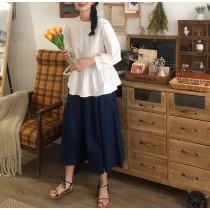 【預購】森林系女子.設計感娃娃襯衫上衣+深藍色寬褲裙套裝(上下需分開購買)