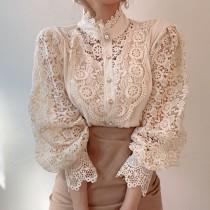【預購】姊姊風.韓風 重工蕾絲 長袖襯衫上衣~3色