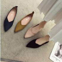 【預購】怎麼穿都美!超百搭絨面尖頭軟底包鞋~4色