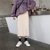 【預購】文藝女子專用.兩側小開衩針織長裙~2色