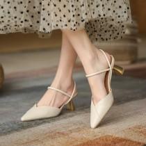 【預購】設計款.法式復古尖頭高跟涼鞋~2色