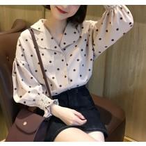 【預購】復古小清新.西裝領波點襯衫上衣~2色