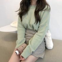 【預購】溫柔女子專用.淺綠色毛衣+格紋毛呢半身裙套裝(上衣與裙子需分開購買唷)