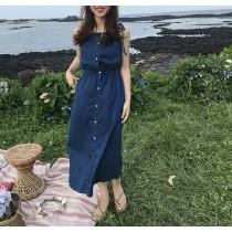 【預購】一件出門系列.韓夏日復古牛仔棉吊帶洋裝
