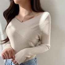 【預購】衣櫃必備款.簡約優雅風 百搭V領針織衫~4色