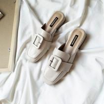 【預購】英倫風方頭扣環低跟穆勒鞋~3色