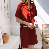 【預購】文藝女子專用.純色暗紅色超顯瘦A字洋裝