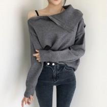 【預購】法式優雅不規則大翻領針織衫上衣~2色