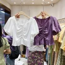 【預購】東大門款.優雅抓皺 方領泡泡袖襯衫上衣~2色