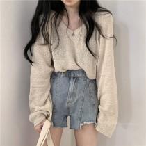 【預購】秋冬需要的一款V領薄針織衫~2色
