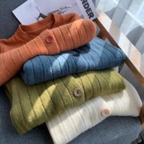 【預購】日系簡約風.豎紋坑條針織上衣外套~4色