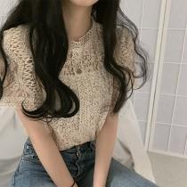 【預購】姐姐風棉質縷空蕾絲襯衫上衣~4色