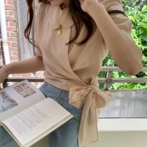 【預購】韓IG 娃娃領側綁帶短袖雪紡襯衫
