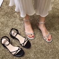 【預購】低調輕奢感.交叉細帶低跟涼鞋~2色